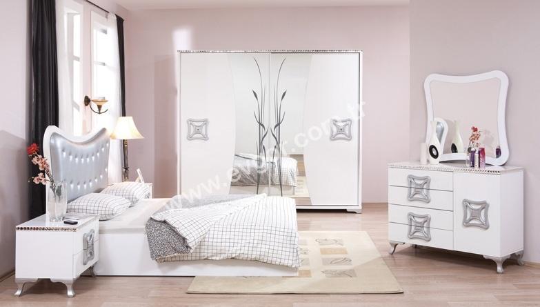 Evgor Mobilya Beyaz Aynali Yatak Odasi Modeline Ait Detay