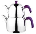 Alkapıda.com / Esmira Orta Boy Zümrüt Sade Mor Çaydanlık Takımı