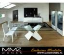 MMZ WONEN / modern lux gorunumlu salon takimi - cam masa isikli vitrinler parlak beyaz
