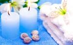 Alkapıda.com / Mavi Mumlar ve Beyaz Çiçek Tablo 62