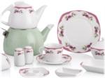 Alkapida.com Türkiye / Noble Life 46 Parça Pink Garden 6 Kişilik Porselen Kahvaltı Takımı 13775