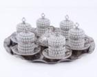 Alkapıda.com / Hediyelik 6 Kişilik 8 Parça Beyaz İnci Gümüş Kahve Seti