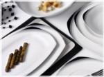 Alkapıda.com / Noble Life 28 Parça Black Wings Porselen Kare Yemek Takımı 14611