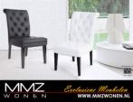 MMZ WONEN / Modern italyan design deri gorunumlu sandalyeler - siyah beyaz - Tahta ayakli siyah beyaz