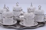 Alkapıda.com / Hediyelik 6 Kişilik 8 Parça Gümüş Taşlı Kahve Seti