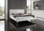 MMZ WONEN / klasik avantgarde italyan design karyola - beyaz deri kumasli lux tirabzanli tasli detayli