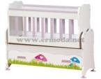 ERMODA Modüler Mobilya / Ermoda Safir 50x85 Mushroom Mini Anne Yanı Baskılı Beşik  KARGO ÜCRETSİZ