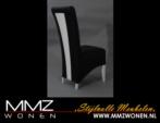 MMZ WONEN / modern italyan tasarimli sandalye - siyah beyaz deri kumas
