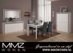 MMZ WONEN / modern italyan design yemek odasi - beyaz parlak siyah desenli - aynali