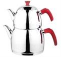 Alkapıda.com / Esmira Büyük Boy Zümrüt Sade Kırmızı Çaydanlık Takımı