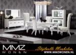 MMZ WONEN / klasik model italyan design yemek odasi seti - gumus cerceveli vitrin ve dolap parlak beyaz
