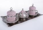 Alkapıda.com / Hediyelik 2 Kişilik Pudra Taş İşlemeli Gümüş Kahve Seti