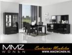 MMZ WONEN / Lux salon takimi modern italyan design - Aynali dressoir ve vitrin yemek masasi - parlak siyah