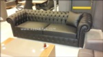 Koc Koltuk & mobilya / Siyah Gercek Deri Chester Koltuk