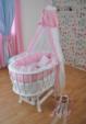 Bebekonfor bebek beşik uyku seti / BEYAZ BERSAVA PEMBE ORGANZE BEŞİK