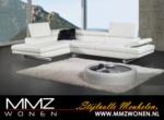MMZ WONEN / modern stil koseli koltuk demir bacakli oynar baslikli - beyaz deri kumasi