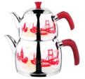 Alkapıda.com / Esmira Orta Boy Zümrüt Dekorlu Kırmızı Çaydanlık Takımı