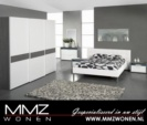 MMZ WONEN / modern design yatak odasi - beyaz karyola - beyaz yumusak tirabzanli -  surgulu gri beyaz dolap