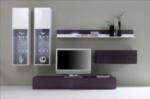 MMZ WONEN / lux isikli mor beyaz televizyon sehpasi duvar uniteli - camli parlak beyaz