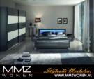 MMZ WONEN / Modern Yatak Odasi Lambali - Siyah Beyaz Gri - Surgulu Dolap Metal Ayakli Karyola Italyan Lux Design