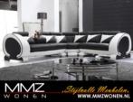 MMZ WONEN / Hakiki Deri Koseli Koltuk - Siyah Beyaz Modern ve şık Design Italyan Deri Kose Koltugu