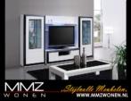 MMZ WONEN / Modern italyan design oturma odasi takimi - aynali led lambali vitrinler - siyah beyaz parlak