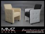 MMZ WONEN / Tek kisilik modern tekerli yuksek koltuk - deri kumas tasli - siyah beyaz