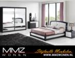MMZ WONEN / Modern yatak odasi takimi - aynali dolap ve dressoir-surgulu dolap - siyah beyaz - lux deri trabzan