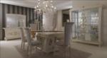 MMZ WONEN / klasik italyan design yemek odasi takimi - altin detayli yemek masasi - altin detayli dolap aynali
