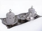 Alkapıda.com / Hediyelik 2 Kişilik Parlak Taş İşlemeli Gümüş Kahve Seti