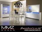 MMZ WONEN / Italyan luks tasli parlak yemek odasi - led lambali vitrin beyaz
