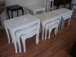 arge mobilya  / beyaz lake zigon sehpa