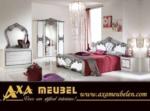 .AXA WOISS Meubelen / gümüş renkli tasarımı ile klasik parlak beyaz yatak odası takımı