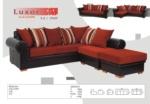 MMZ WONEN / modern koseli koltuk - kahverengi deri ve kirmizi buyuk yastiklar