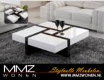 MMZ WONEN / C14 Salon Masasi Modern ve Kaliteli - Cekmeceli Siyah Beyaz Parlak Hoogglans Highgloss