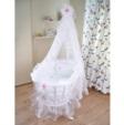 Show Bebek / Beyaz Gül Ahşap Sepet Beşik