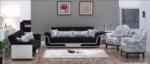 MMZ WONEN / Modern design kumas koltuk takimi - tahta ayakli - desenli yastiklar ve tek kisilik koltuklar