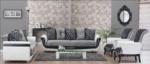 MMZ WONEN / Klasik italyan design suni deri kumas koltuk takimi - beyaz gri - tahta ayakli