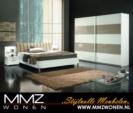 MMZ WONEN / modern yatak odasi takimi italyan design - surmeli dolap - parlak beyaz - metal ayaklar