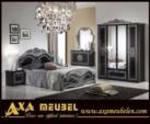 .AXA WOISS Meubelen / klasik parlak siyah gri renkli yatak odası takımı