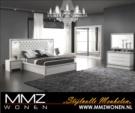 MMZ WONEN / lux yatak odasi - tasli cerceve beyaz parlak - aynali - italyan design