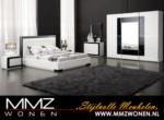 MMZ WONEN / lux yatak odasi takimi - surgulu aynali dolap siyah beyaz renkler - deri tirabzanli siyah cerceveli