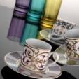Alkapida.com Türkiye / Kütahya Porselen Rüya 18 parça Damask Desenli Kahve Fincan Takımı