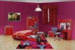 www.dekorsanal.com / Hızlı Arabalı Genç Odası Yavrulu Kırmızı