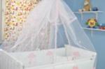 bebekonfor bebek beşikleri / Pembe Güllü Fırfırlı Tül cibinlik