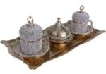 Alkapıda.com / Hediyelik 2 Kişilik Parlak Taş İşlemeli Altın Kahve Seti