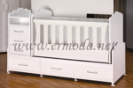 ERMODA Modüler Mobilya / Ermoda Mercan 70 x 130 büyüyen beşik & karyola - Beyaz
