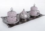 Alkapıda.com / Hediyelik 2 Kişilik Krem Taş İşlemeli Gümüş Kahve Seti