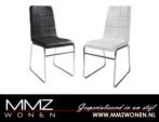 MMZ WONEN / modern design deri kumasli sandalyeler - siyah beyaz - demir bacakli