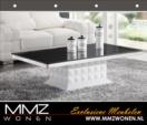 MMZ WONEN / modern gorunumlu orta masasi - siyah camli parlak beyaz